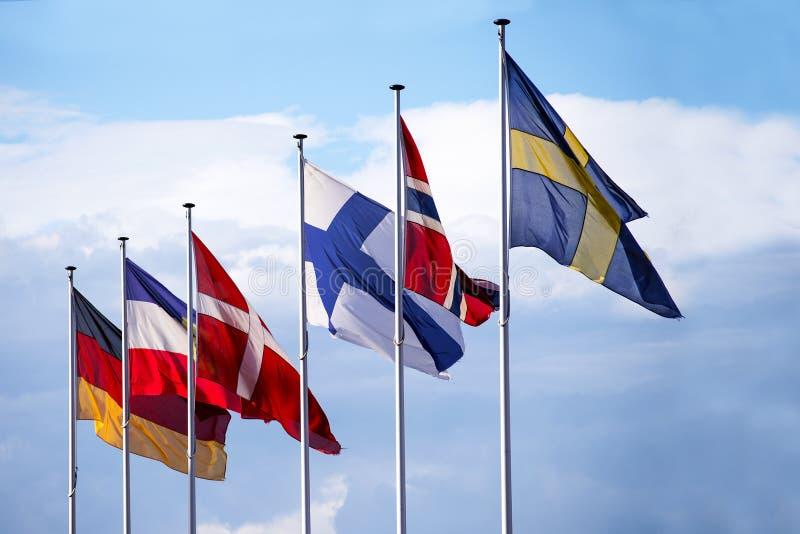 Vlaggen van de noordse Europese landen Zweden, Noorwegen, Finland, royalty-vrije stock afbeelding
