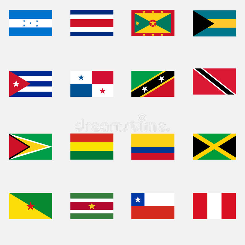 Vlaggen van de staten van Latijns Amerika stock illustratie