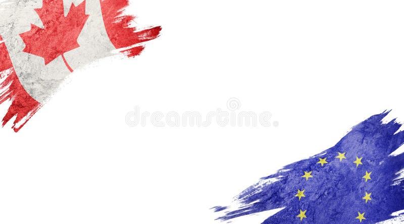 Vlaggen van de Unie van Canada en van Europa op witte achtergrond stock illustratie