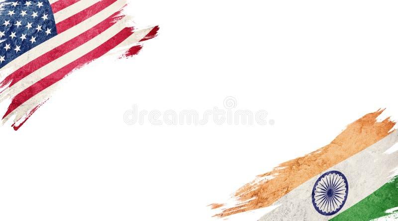 Vlaggen van de V.S. en India op witte achtergrond royalty-vrije illustratie