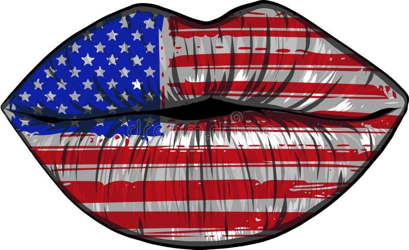 Vlaggen van de V.S. in sensualiteitlippen geplaatst vrouwenvector royalty-vrije illustratie