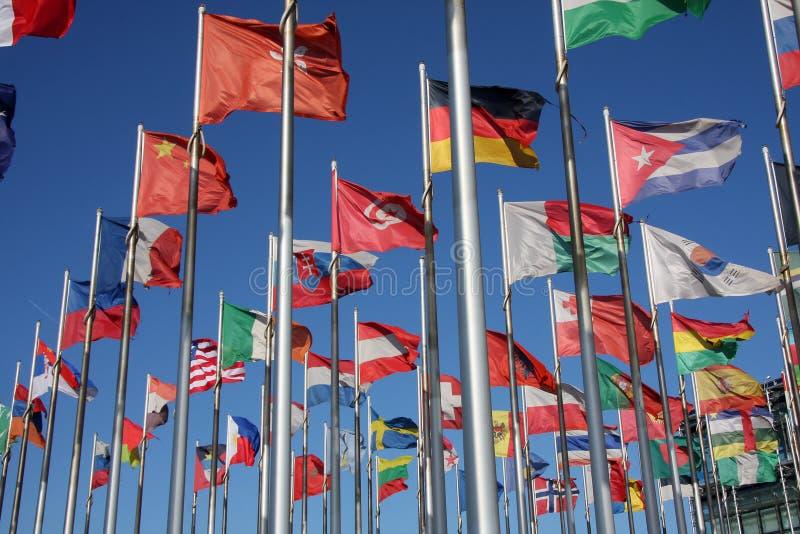Vlaggen van de wereld stock foto's