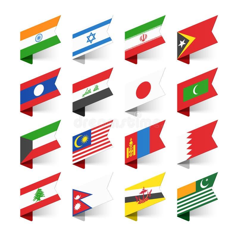 Vlaggen van de Wereld, Azië royalty-vrije illustratie