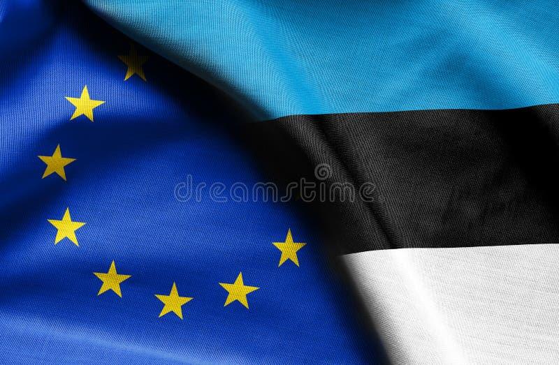 Vlaggen van Estland en de Europese Unie royalty-vrije stock afbeelding