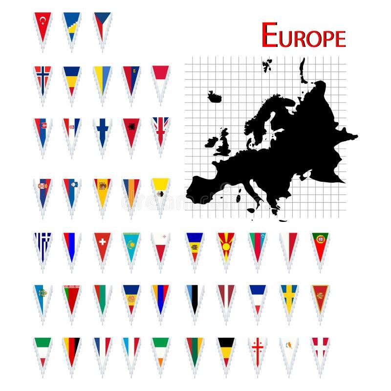 Vlaggen van Europa royalty-vrije illustratie