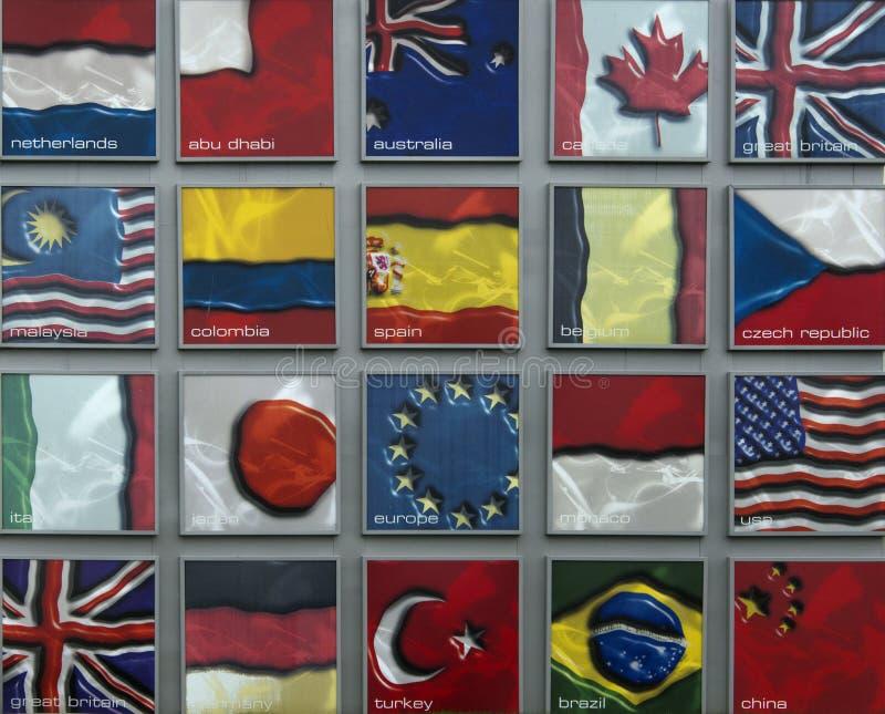 Vlaggen van F1 Naties stock afbeelding