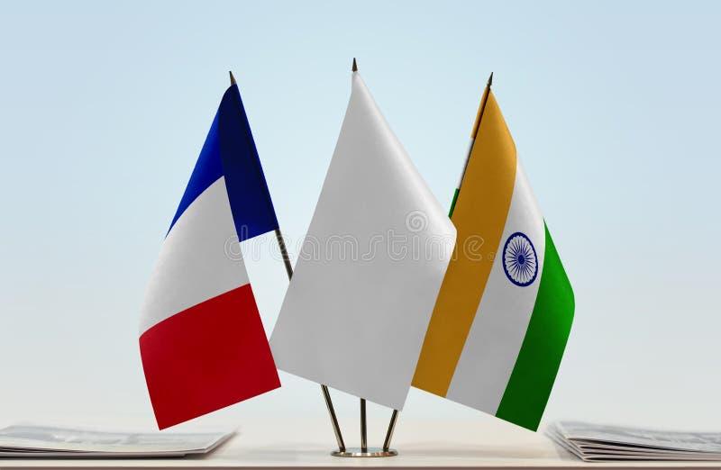 Vlaggen van Frankrijk en India royalty-vrije stock foto's