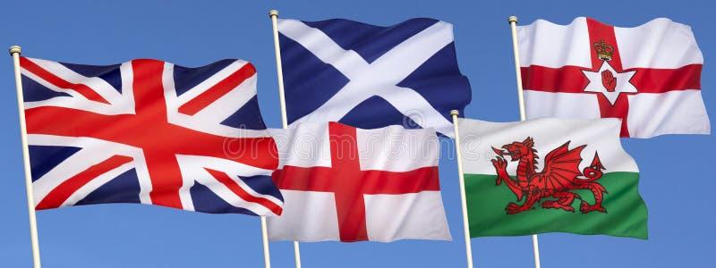 Vlaggen van het Verenigd Koninkrijk van Groot-Brittannië stock foto