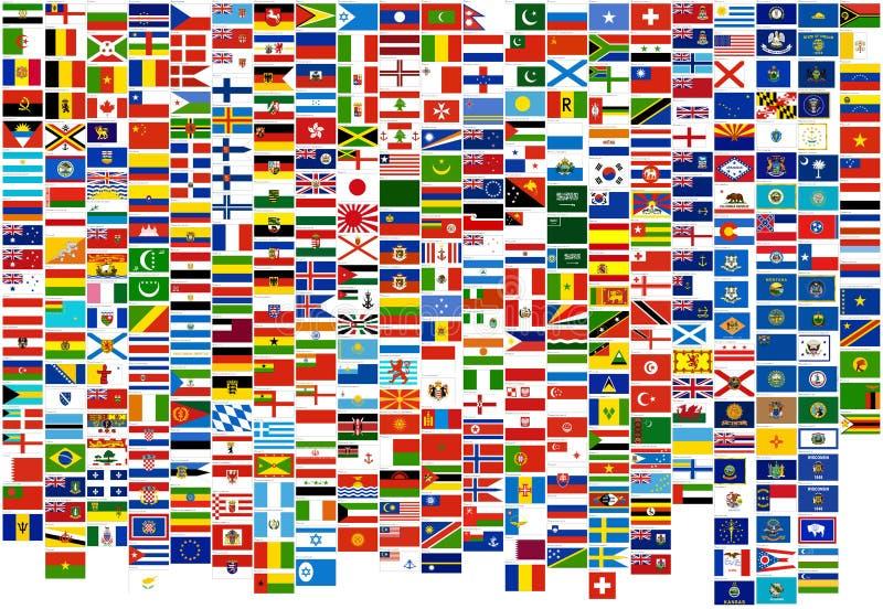 Vlaggen van het wereldland, staten en zee (oorlog, FI royalty-vrije illustratie