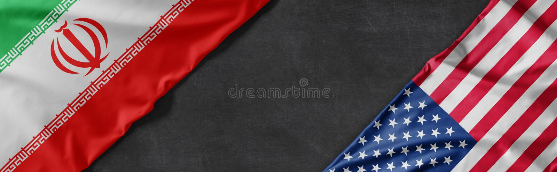 Vlaggen van Iran en de Verenigde Staten van Amerika met kopieerruimte royalty-vrije stock foto