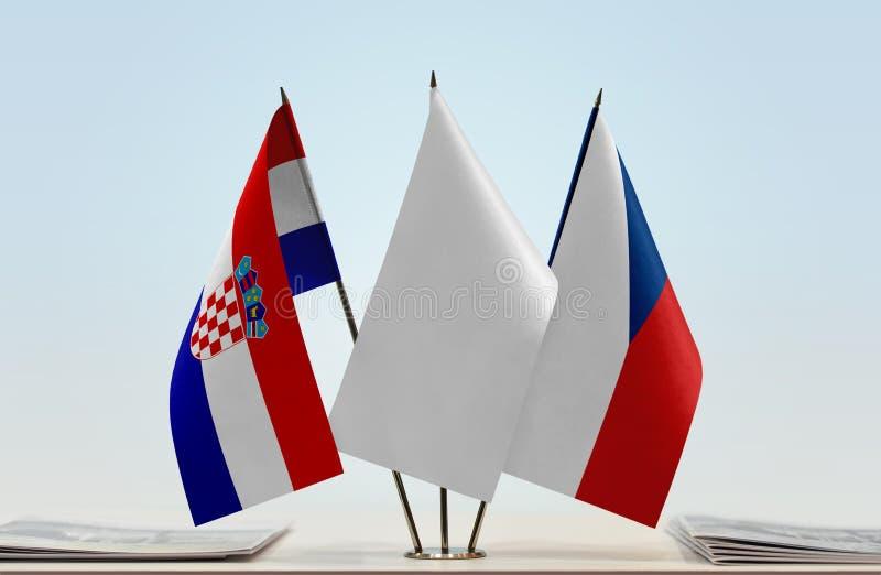 Vlaggen van Kroatië en Tsjechische Republiek royalty-vrije stock foto
