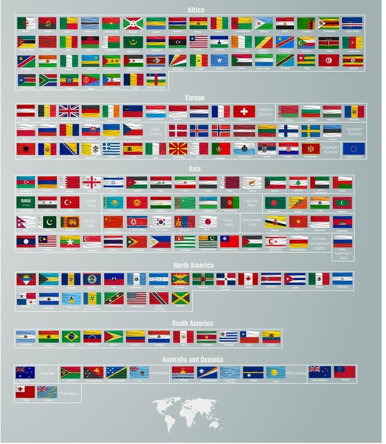 Vlaggen van landen die door delen van de wereld worden verdeeld stock illustratie