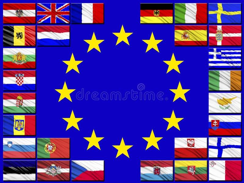Vlaggen van landen die tot de Europese Unie behoren royalty-vrije illustratie