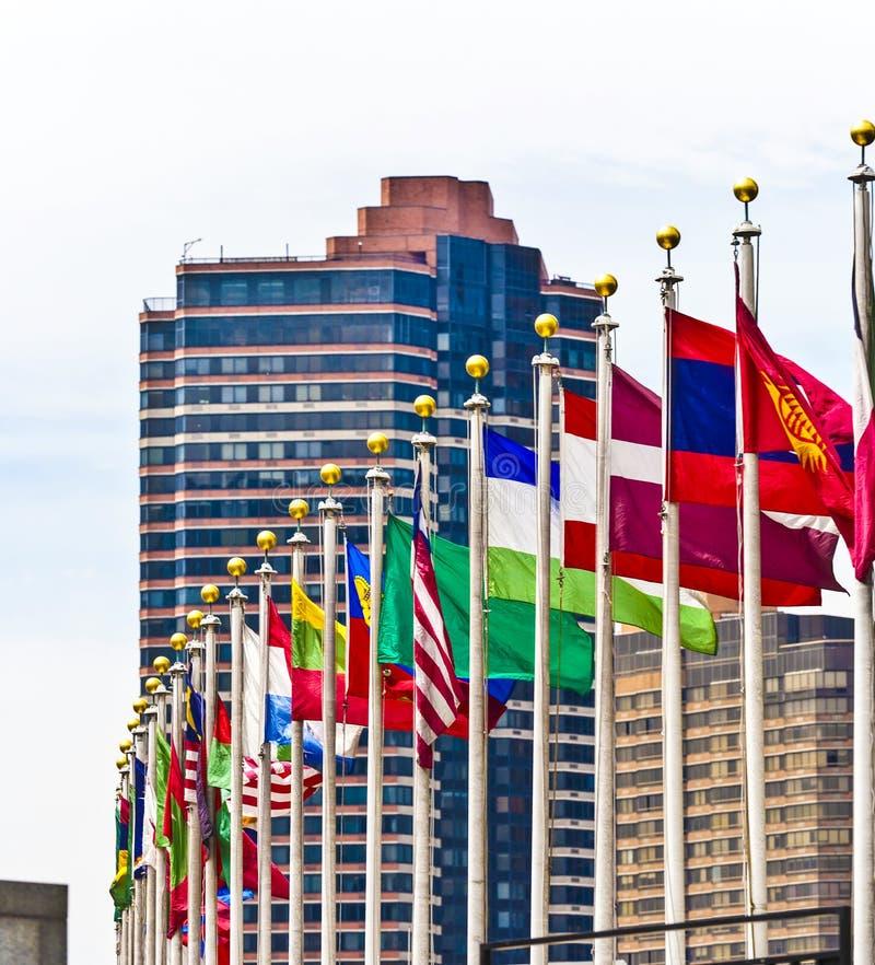 Vlaggen van leden van de V.N. in New York royalty-vrije stock afbeeldingen