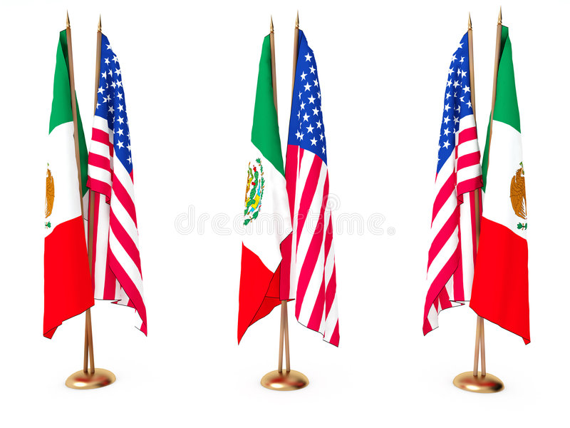 Vlaggen van Mexicaan en de Verenigde Staat vector illustratie