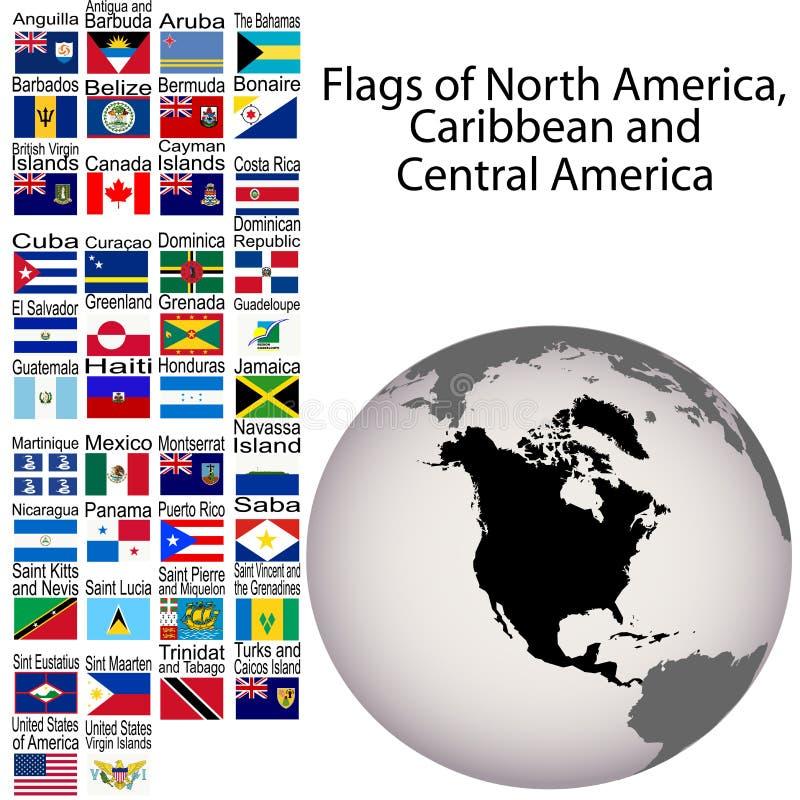 Vlaggen van Noord-Amerika en Midden-Amerika stock illustratie