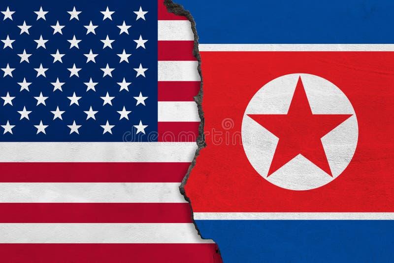 Vlaggen van Noord-Korea en de V.S. op gebarsten muur wordt geschilderd die vector illustratie