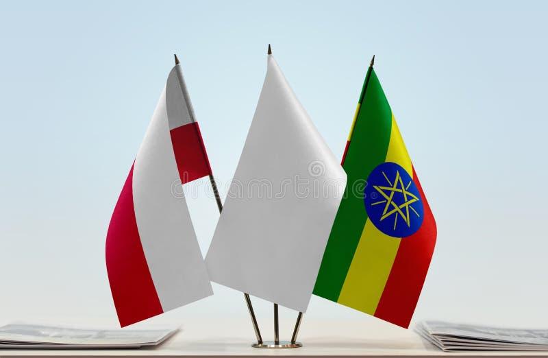 Vlaggen van Polen en Ethiopië stock afbeeldingen