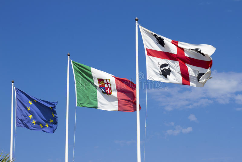 Vlaggen van Sardinige, Italië, Europa royalty-vrije stock foto's