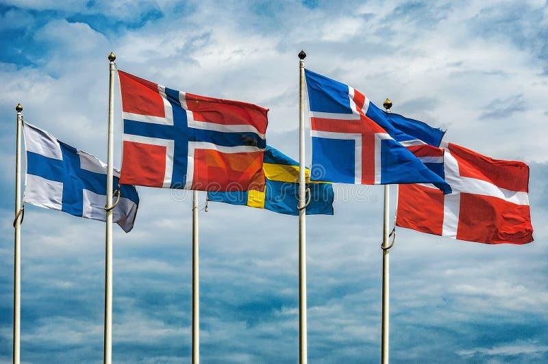 Vlaggen van Scandinavië stock afbeelding