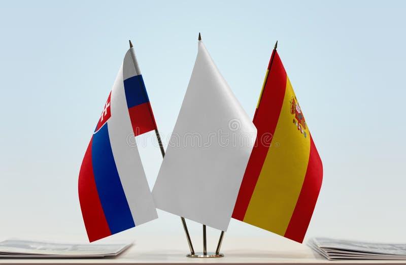 Vlaggen van Slowakije en Spanje royalty-vrije stock foto