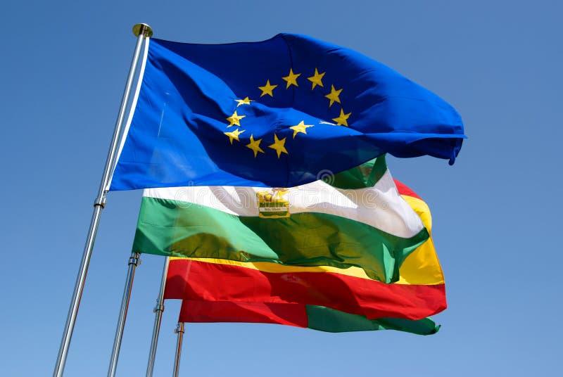 Vlaggen van Spanje stock afbeelding