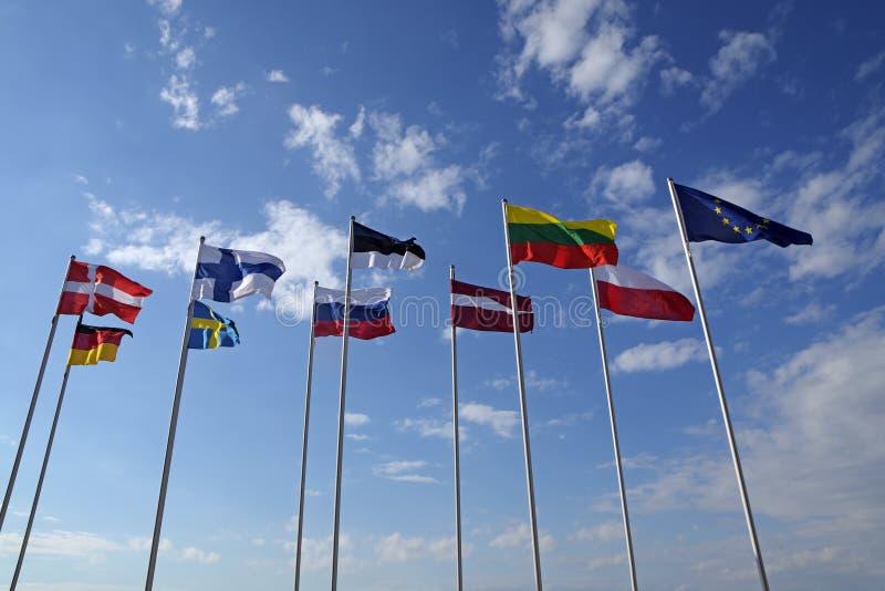 Vlaggen van verschillende landen, nationale symbolen of tekens royalty-vrije stock afbeelding