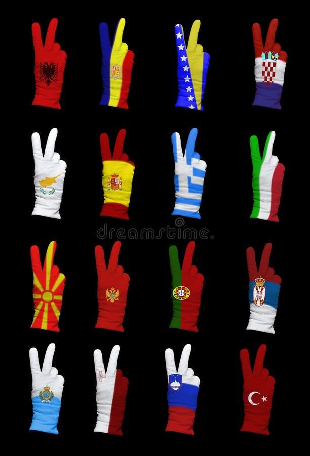 Vlaggen van Zuidelijk Europa stock afbeelding