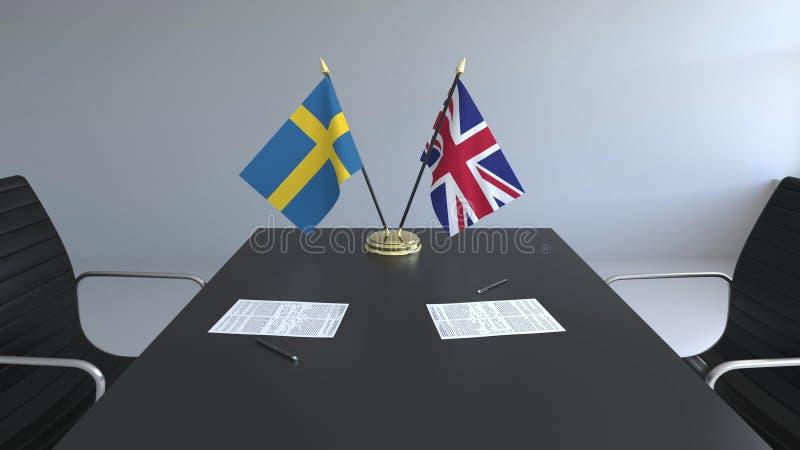 Vlaggen van Zweden en het Verenigd Koninkrijk en documenten op de lijst Onderhandelingen en het ondertekenen van een internationa vector illustratie