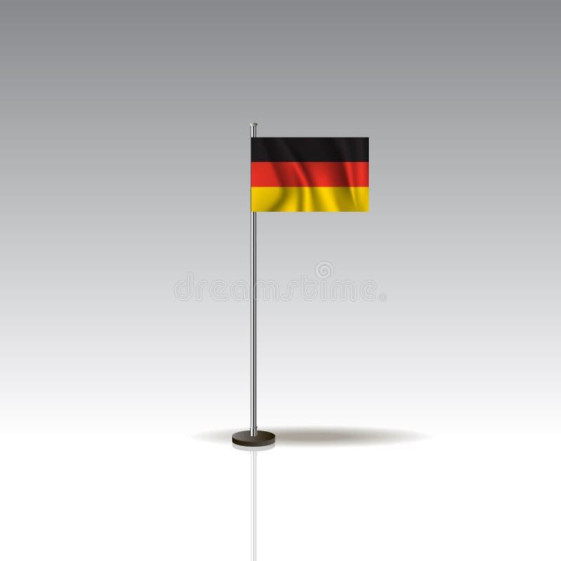 Vlagillustratie van het land van DUITSLAND De nationale vlag van DUITSLAND die op grijze achtergrond wordt geïsoleerd stock illustratie