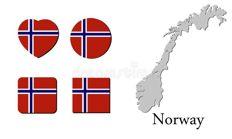 Vlagkaart Noorwegen stock illustratie