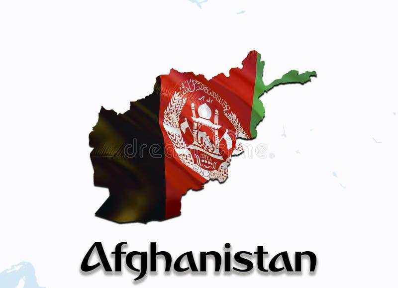 Vlagkaart van Afghanistan 3D het teruggeven Afghanistan kaart en vlag op Midden-Oostenkaart Het nationale symbool van Afghanistan stock afbeeldingen