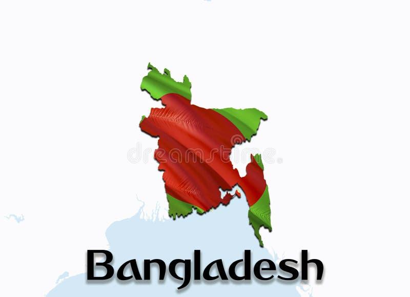 Vlagkaart van Bangladesh 3D het teruggeven Bangladesh kaart en vlag op de kaart van Azië Het nationale symbool van Bangladesh Dha royalty-vrije stock foto's