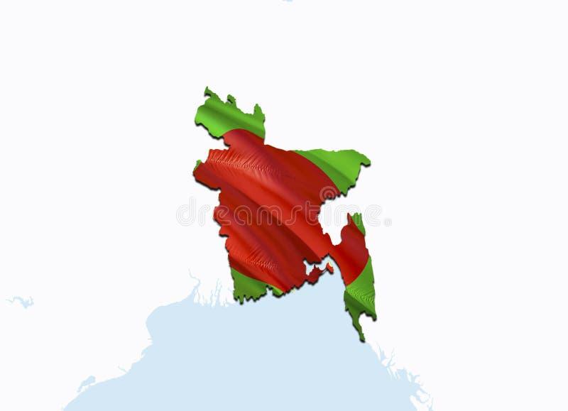 Vlagkaart van Bangladesh 3D het teruggeven Bangladesh kaart en vlag op de kaart van Azië Het nationale symbool van Bangladesh De  stock afbeelding