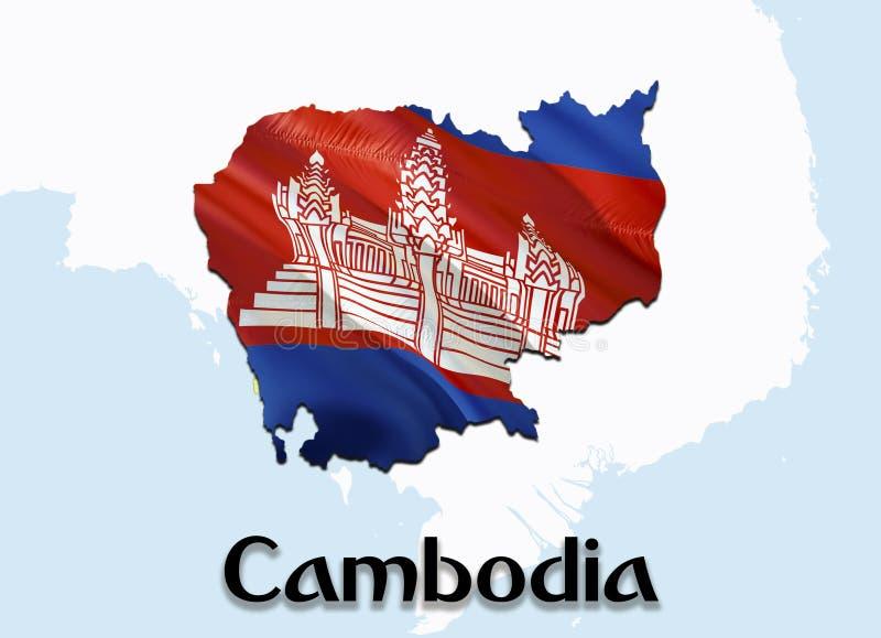 Vlagkaart van Kambodja 3D het teruggeven Kambodja kaart en vlag op de kaart van Azië Het nationale symbool van Kambodja De vlagka royalty-vrije stock afbeelding