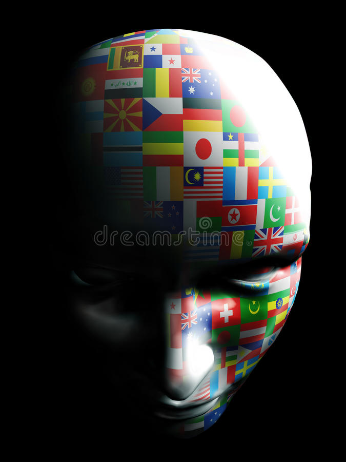 Vlagkunst op menselijk gezicht royalty-vrije stock afbeelding