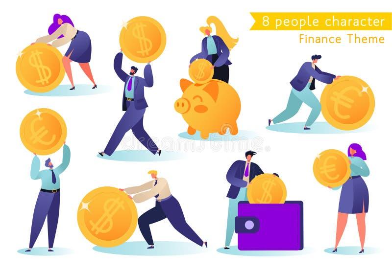 Vlak, ?artoon, vectorillustratieinzameling Verschillende succesvolle mensenkarakters die geld maken vector illustratie