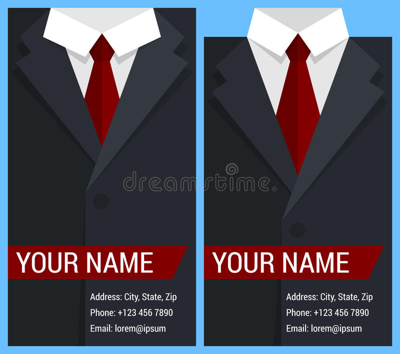 Vlak adreskaartjemalplaatje met zwart jasje stock illustratie