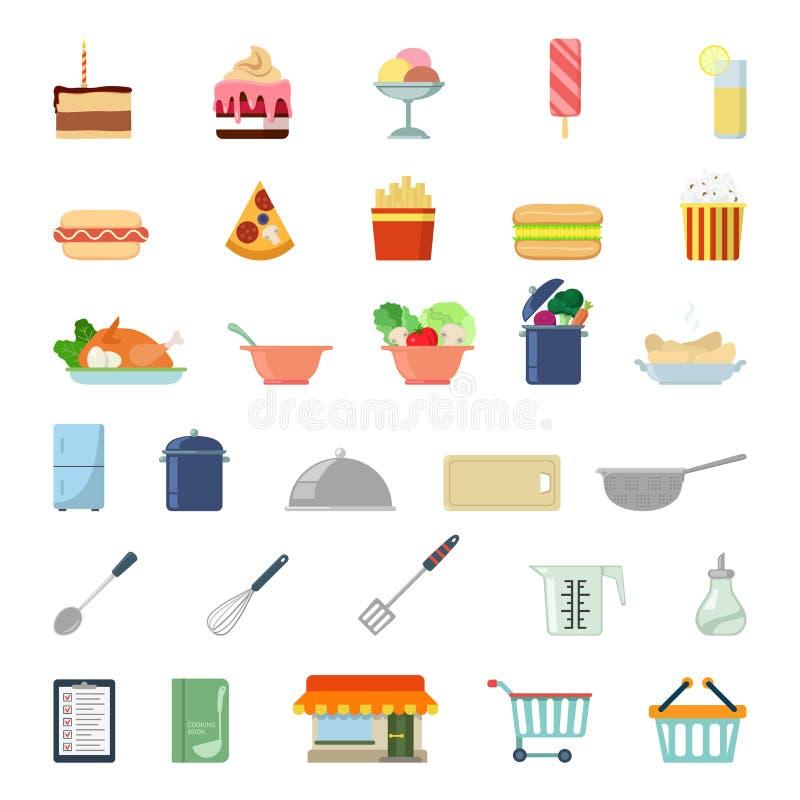 Vlak app van het websitevoedsel pictogram: het winkelen maaltijdvoedsel het koken vector illustratie