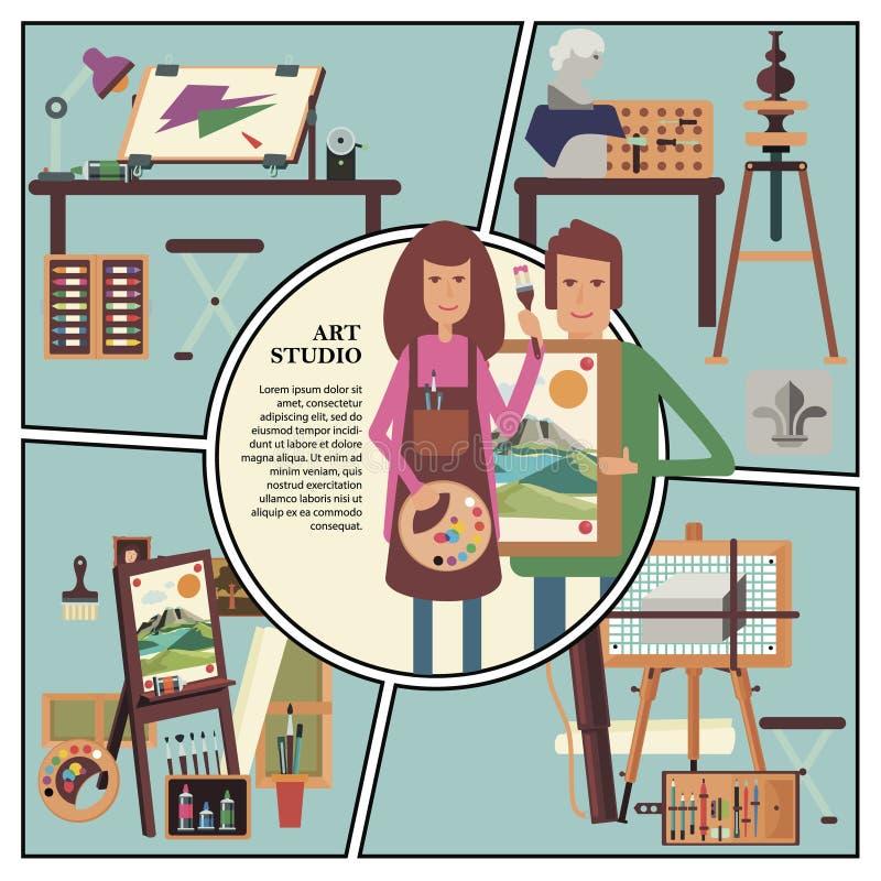 Vlak Art Studio Concept royalty-vrije illustratie