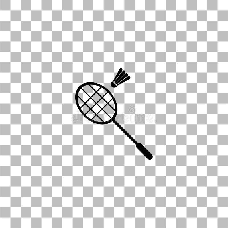 Vlak badmintonpictogram royalty-vrije illustratie