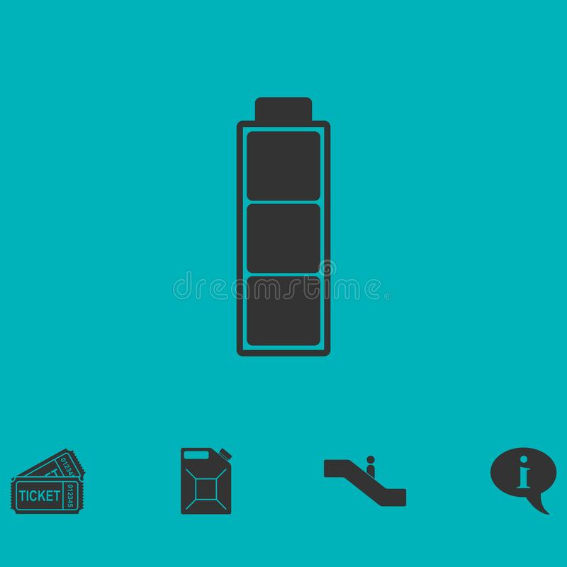 Vlak batterijpictogram stock illustratie