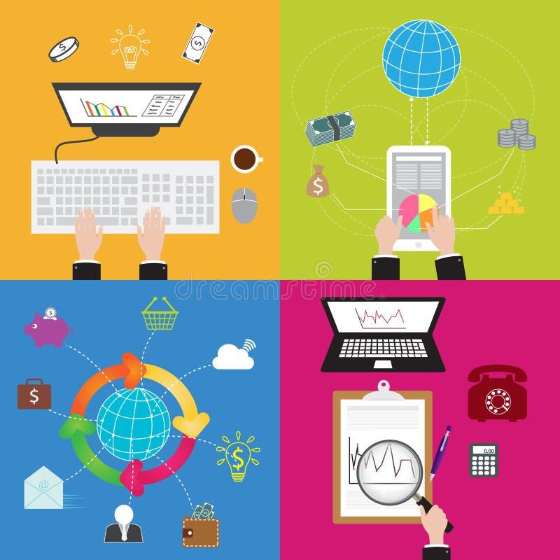 Vlak Bedrijfs en Technologieconcept vector illustratie