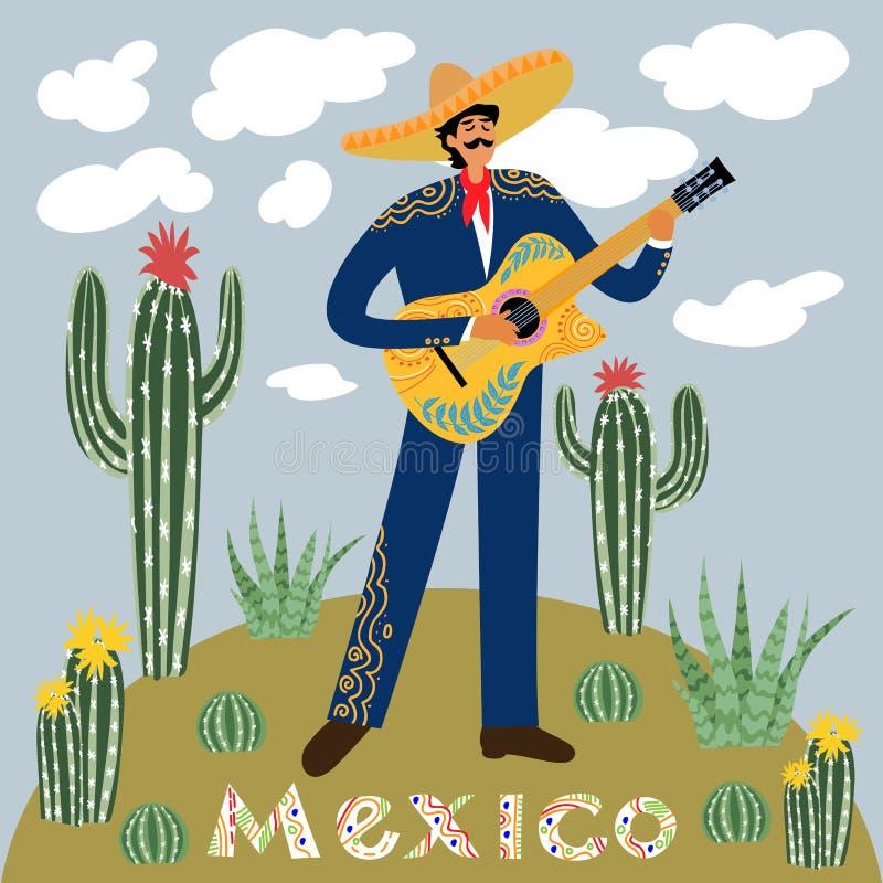 Vlak beeldverhaal van een Mexicaanse die mens het spelen gitaar in sombrero tegen de hemel met wolken door cactussen worden omrin stock illustratie