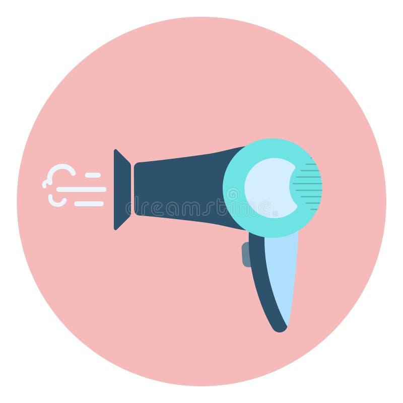 Vlak blauw droogkappictogram, het symbool van de haaropmaker royalty-vrije illustratie