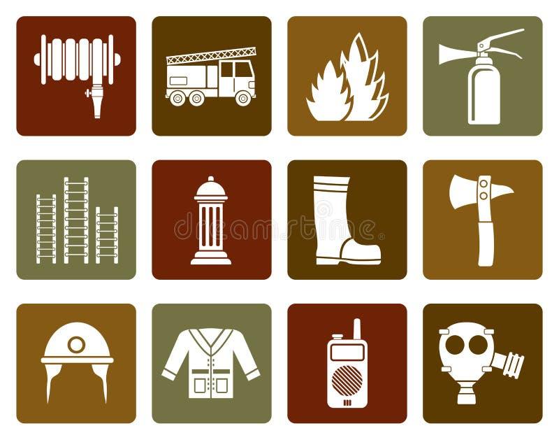 Vlak brand-brigade en brandweermanmateriaalpictogram vector illustratie