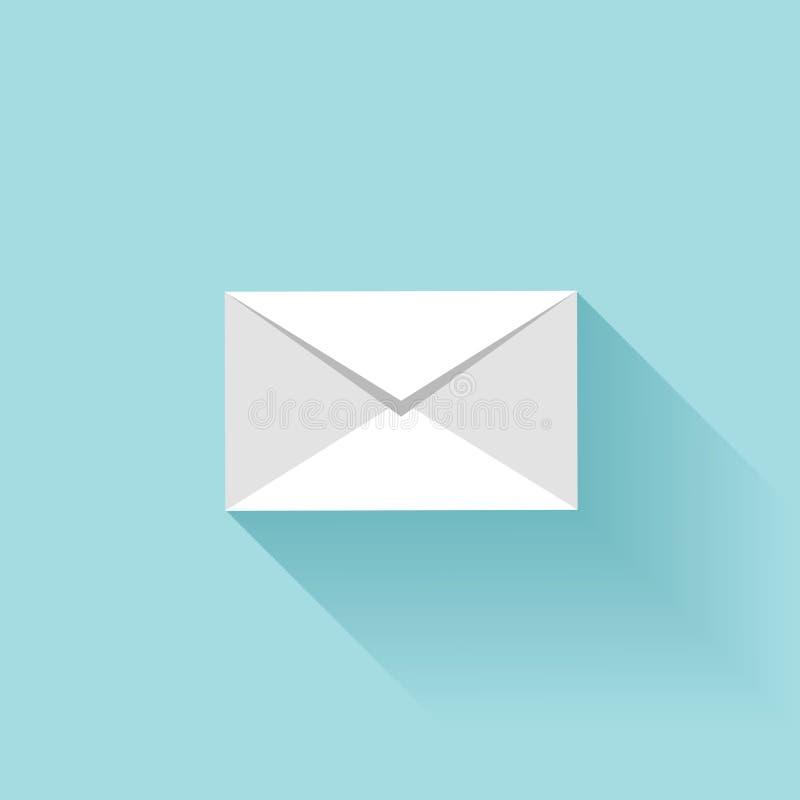 Vlak brievenpictogram met schaduw Sms of e-mailsymbool vector illustratie