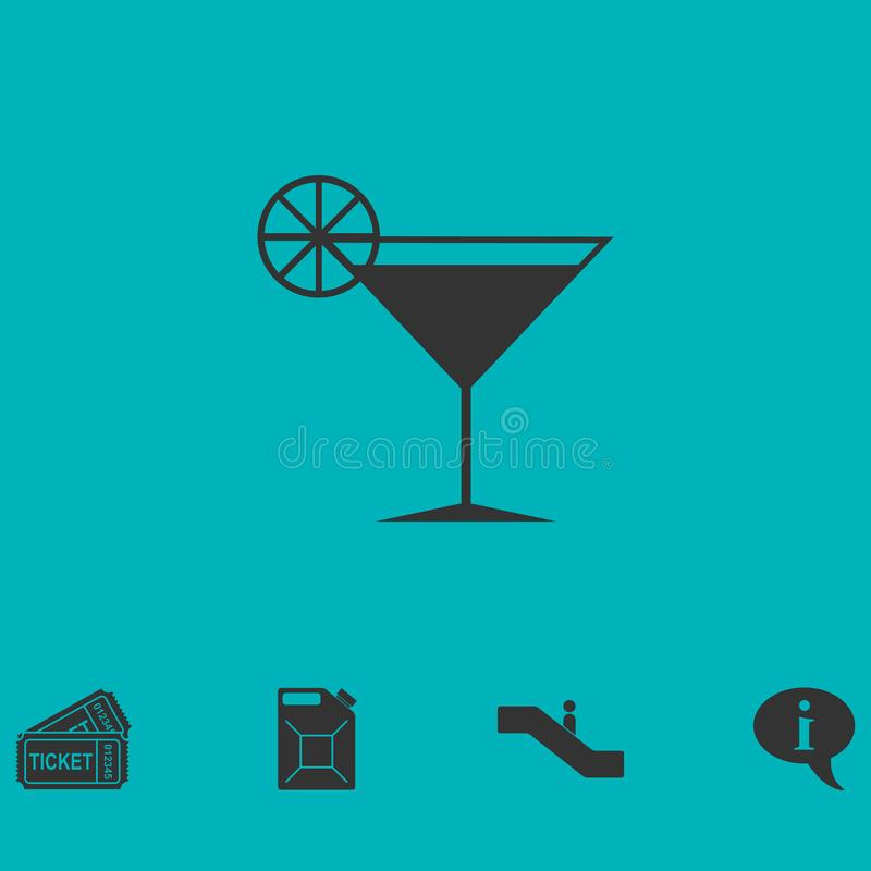 Vlak cocktailpictogram stock illustratie