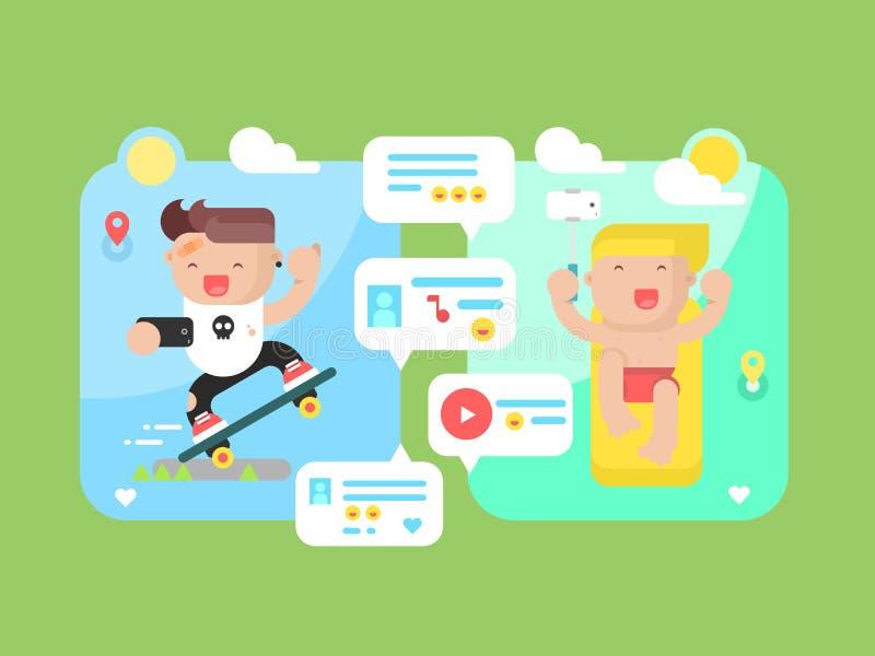 Vlak communicatietechnologieconcept vector illustratie