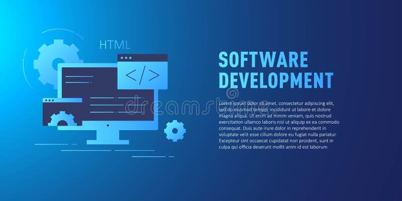 Vlak concept Gegevensbescherming voor website en mobiele website Software-ontwikkeling Vector vector illustratie